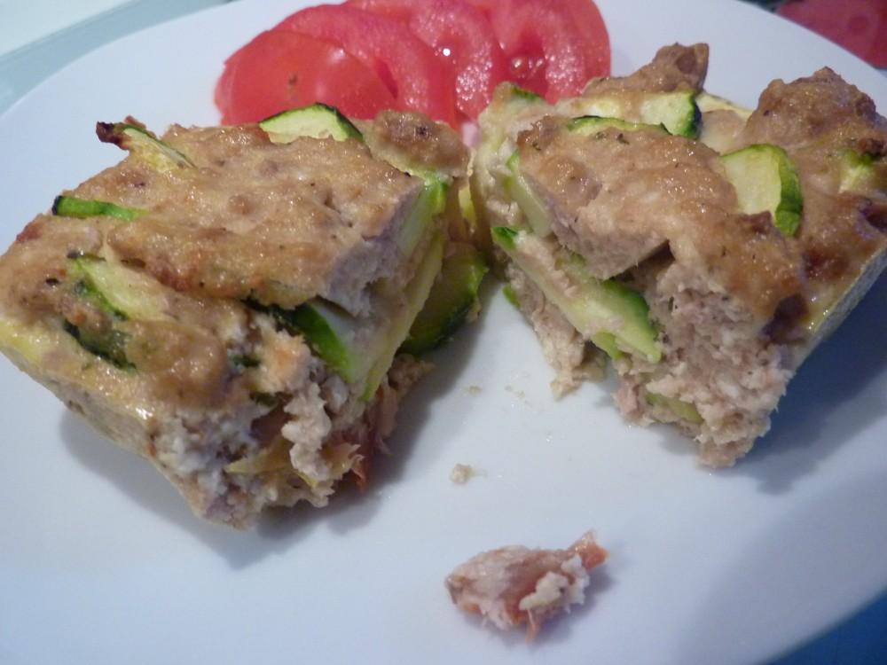 Cake au tofu soyeux , courgette , thon et tomate confit  (2/2)